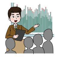 경영 컨설턴트의 설명을 돕기 위한 일러스트