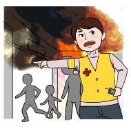 재난관리전문가의 설명을 돕기 위한 일러스트