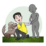 반려동물 행동상담원의 설명을 돕기 위한 일러스트